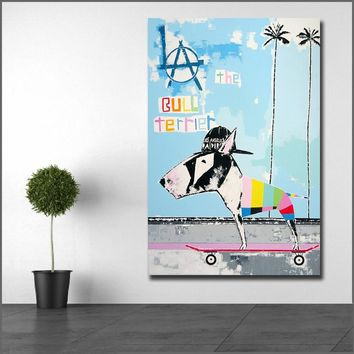 Large size Printing Bull Terrier Skateboard Dog Wall Art Picture Home Decor Living Room Modern Canvas Print No Frame Paintings