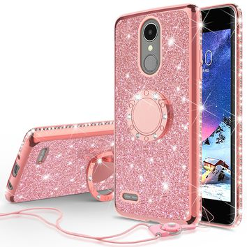 LG K20 Plus Case, LG K20 V, K10 2017, LG Harmony Case, Glitter Cute Phone Case Girls with Kickstand,Bling Diamond Rhinestone Bumper Ring Stand Sparkly Luxury Clear Thin Soft Protective LG K20 Plus, K10 2017 Case for Girl Women - Rose Gold