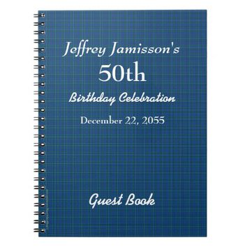 50th Birthday Party Guest Book Blue Plaid