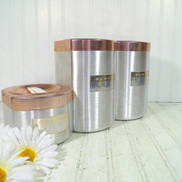 Mid Century Set of 3 Spun Aluminum Copper Color Lidded Canisters - Vintage Metal Kitchen Ware Storage Cans 6 Pieces - Retro Décor Large Bins