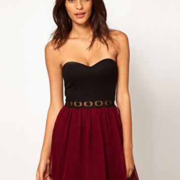 Paprika Bandeau Chiffon Prom Dress With Lace Trim at asos.com