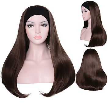 Mix Long 3/4 Women's Wigs Hairpiece Straight Hair Piece with Headband
