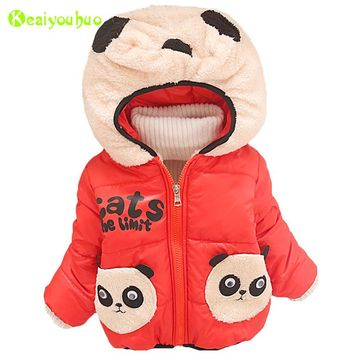 KEAIYOUHUO 2017 Autumn Winter Baby Boys Jacket For Boys Warm Cotton Outwear Coats Kids Boys Panda Hooded Jacket Children Clothes
