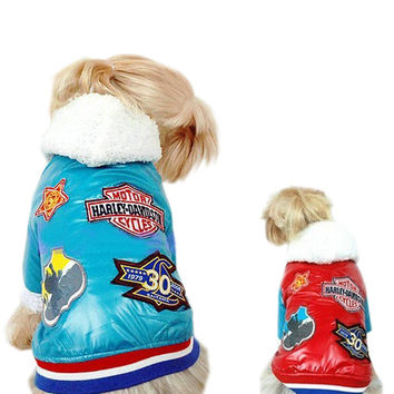 Dogs Clothing Motorcycle Jacket - Size S-Color Red