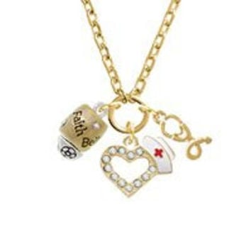 Two Tone Love Hope Faith Believe Spinner Gold Tone Nurse Heart Stethoscope Zoe Necklace