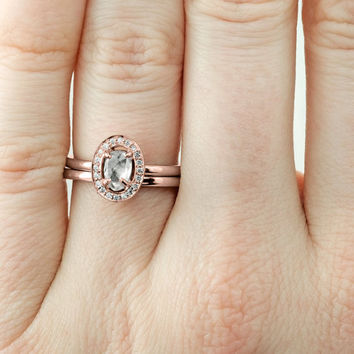 Clear Uncut .74 Carat Diamond Halo Engagement Ring, Recycled 14k Rose Gold