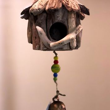 Mini Driftwood Birdhouse -- with Beads and Bell