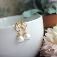 Gold Plated Cubic Zirconia Ear Post,  White SHELL Pearls Earrings. Bridesmaids Gift,  Bridesmaids Jewelry. Wedding Jewelry.