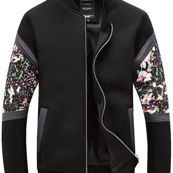 Zip Up Floral Spliced Stand Collar Long Sleeve Jacket