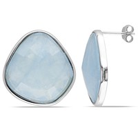 31.55 CT TGW Aquamarine Fashion Earrings Silver White