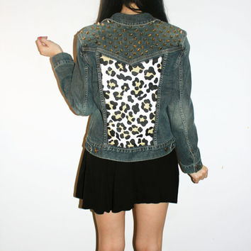 Leopard Spot Studded Denim Jacket / Gold Studs / Dark Jean / Back Patch Animal Print