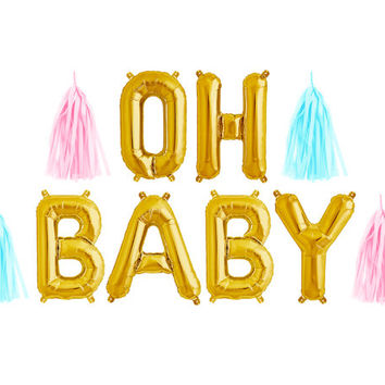 Oh Baby Balloon Garland with Tassels Kit - Boy or Girl Baby Shower - Gold Letter Balloons Banner Decoration - Gender Reveal Ideas