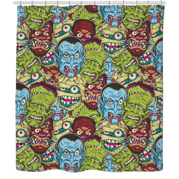 Movie Monsters On Shower Curtain