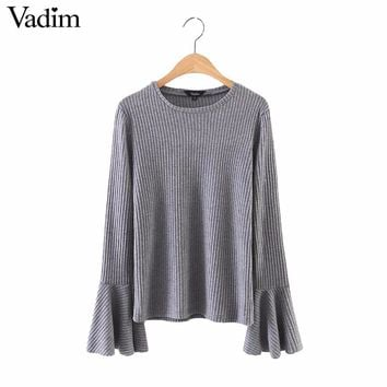 Women elegant bell flare sleeve knitted basic tops elastic shirts long sleeve o neck ladies casual gray tops