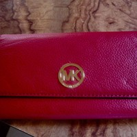 Michael Kors Fulton Carryall Wallet Clutch Pebbled Leather- Red NWT