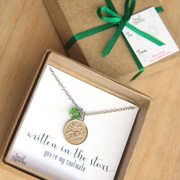 Best Friend, Soulmate, Leo Zodiac Sign Necklace- Leo Necklace, Peridot Green Crystal, August Birthday Gift,  Leo Gift, Astrology Gift