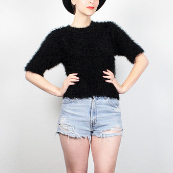 Vintage 90s Sweater Black Fuzzy Crop Top Jumper 1990s Sweater Furry Monster Sweater Textured Knit Cyber Goth Rave Pullover S Small M Medium