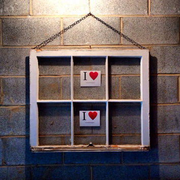 Hanging Vintage 6 Pane Window Frame w/Chain - White, 32 x 28,  Rustic, Wedding, Engagement,  Beach Decor, Photos, Pictures