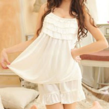 Sexy Ruffled Strappy Two-Piece Pajamas For Women