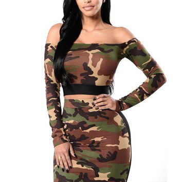 Camouflage Crop Top and Pencil Skirt Set