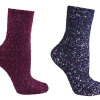 2 Pair Pack Fuzzy Lavender Infused Slipper Socks