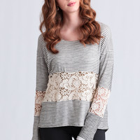 Ocean Avenue Striped Lace Detail Top