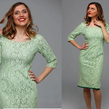 Isabella dress | vintage 1950s dress • mint silk lace 50s dress