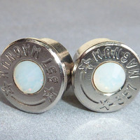 Bullet Earrings . 357 Magnum Nickel Plated Brass . Opal