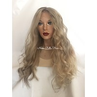 Light Ash Blond Balayage Remy Human Hair Full Lace Wig - Heather