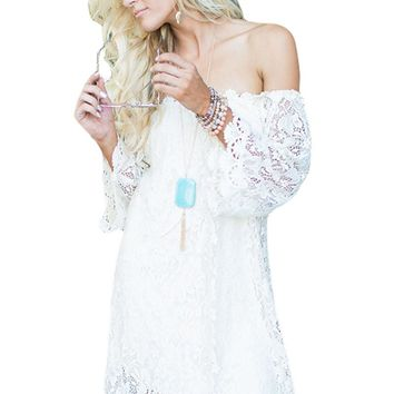 White Off The Shoulder 3/4 Sleeve Floral Lace Dress