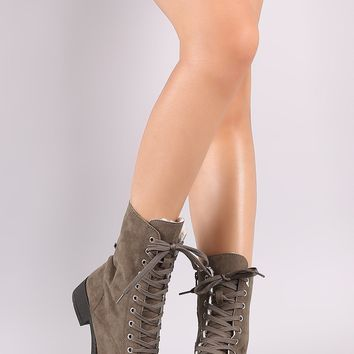 Bamboo Shearling Lined Lace-Up Combat Boots