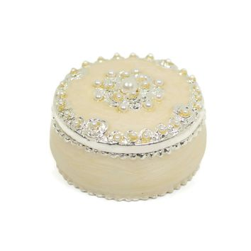 Round Cream Pearl and Crystal Gift Trinket Box