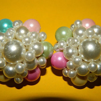 Vintage Pearl Clip On Earrings, Pastels, Pink, Valentine Pink, Easter Pink, Wedding Earrings
