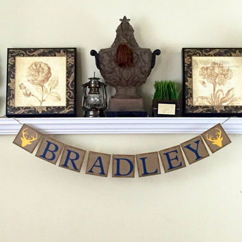 Boys Room Decor, Custom Name Banner, Baby Shower Gift, Woodland Nursery Decor, Baby Shower Decor, Kids Wall Art