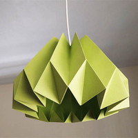Pumpkin/Origami Paper Lamp Shade-Lime Green