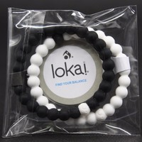 2PCS/bag Silicone Lokai Bracelet Black & White Lokai Silicone Beads Balance Bracelets for Men and Women Energy Bracelet