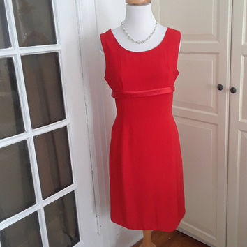 "60s Holiday Red Dress, Back Panel, Bows, Red Crepe, Size S, 35"" B"