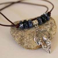 Men's Denim Sodalite and Dangling Leaf Pendant Leather Corded Necklace Magnetic Closure