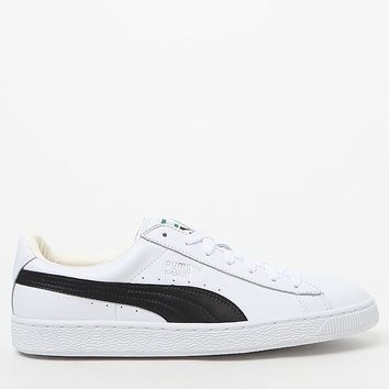 Puma Basket Classic Leather White and Black Shoes at PacSun.com