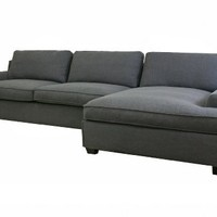 Baxton Studio Kaspar Fabric Modern Sectional Sofa, Slate Gray