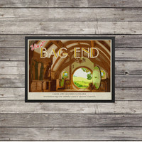 LOTR Poster | Lord of the Rings poster | Bag End | Vintage look print | Vintage travel