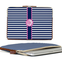 The Buchanan 13'' Laptop Case - Spring Monogram Stripe - The Monogram Collection - Barrington Gifts