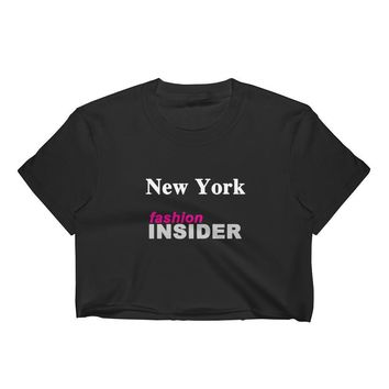 NEW YORK FASHION INSIDER Black Crop Top 100% Cotton Shirt, MADE IN USA