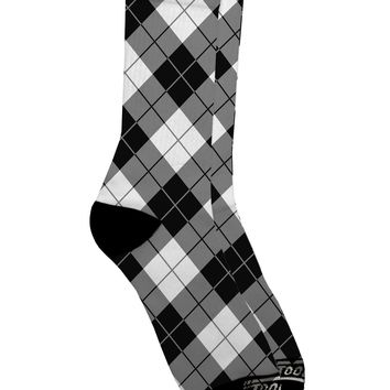 Black and White Argyle AOP Adult Crew Socks All Over Print by TooLoud
