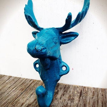 TEAL BLUE GREEN MOOSE WALL HOOK - WOODLAND ANIMAL CABIN DECOR - FUNKY SHABBY CHIC - *FREE SHIPPING*