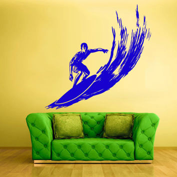 Wall Vinyl Sticker Decals Decor Art Bedroom Design Mural Surfer Surf Board Ocean Water Sport Beach (z513)