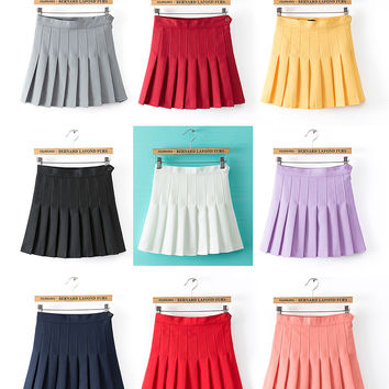 2017 New Spring high waist ball pleated skirts Harajuku Mori girls solid a-line sailor skirt Plus Size Japanese school uniform