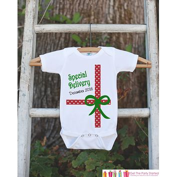 Baby Christmas Outfit - Special Delivery Christmas Onepiece - Newborn Christmas Outfit - Christmas Baby Birth Announcement, Pregnancy Reveal