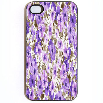 iPhone 4 4s Purple and Brown Flowers Hard iPhone by KustomCases