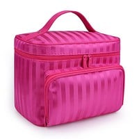 MAGGY ROUFF Woman Cosmetic Bags Striped Pattern Organizer Makeup Bag Travel Toiletry Bag Large Capacity Storage Beauty Bag